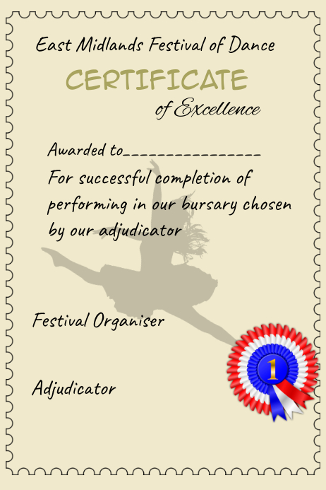 Certificate Achievement Dance Competition Performance Template