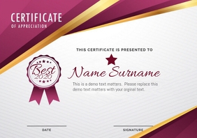 Certificate appreciation