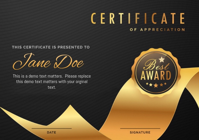 Certificate appreciation template postermywall certificate appreciation yadclub Gallery