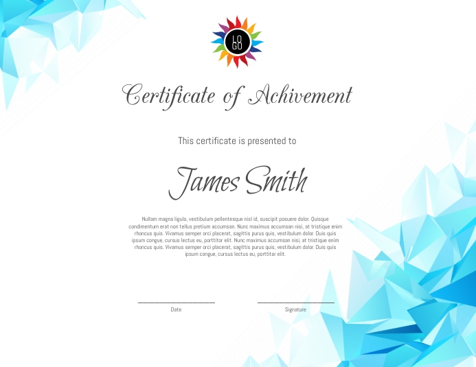 Certificate Рекламная листовка (US Letter) template