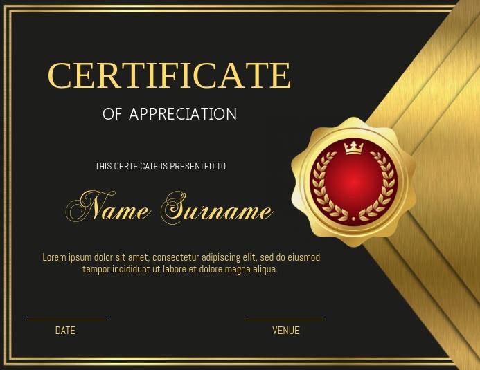 Certificate Løbeseddel (US Letter) template