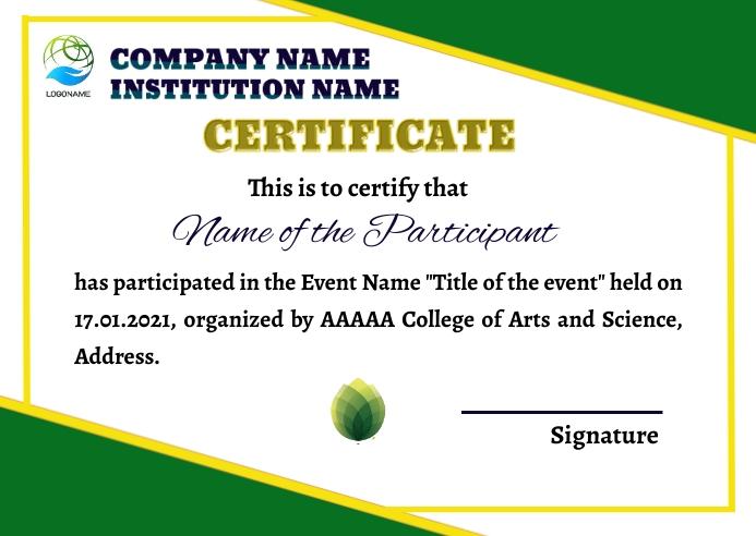Certificate 明信片 template