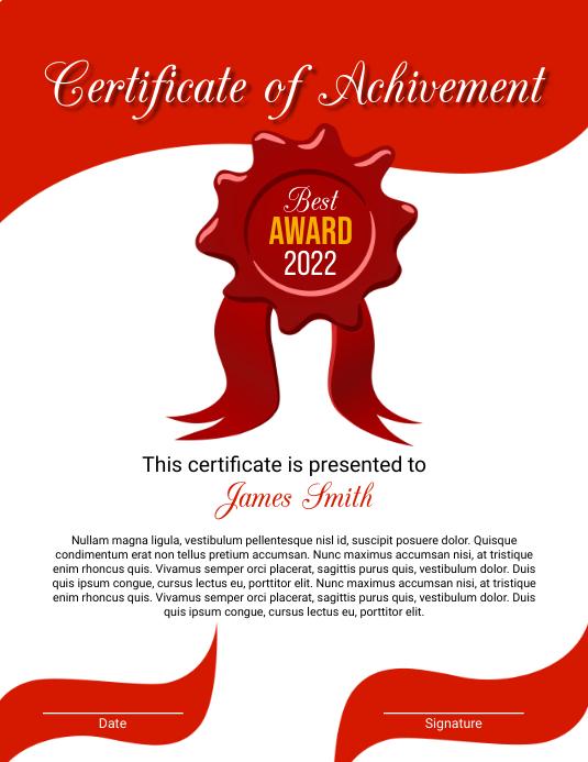 Certificate 传单(美国信函) template