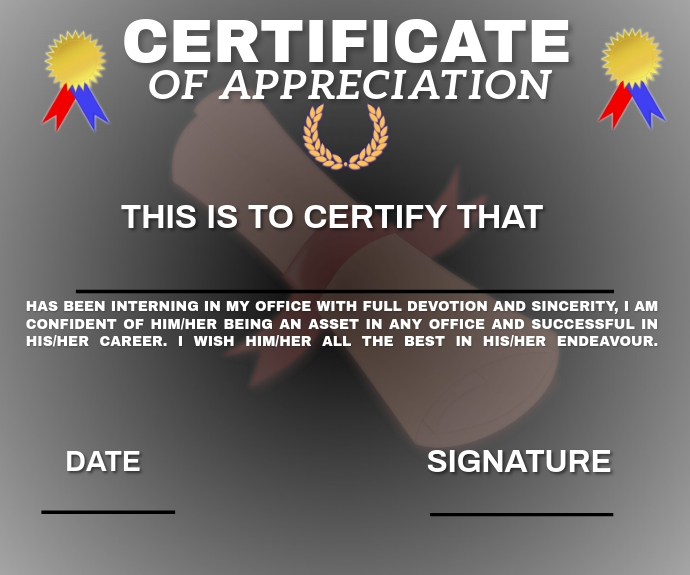 CERTIFICATE FOR EVERYTHING TEMPLATE 中型广告
