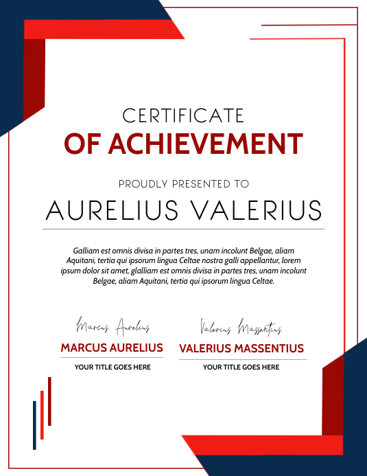 certificate of achievement corporate diploma 传单(美国信函) template