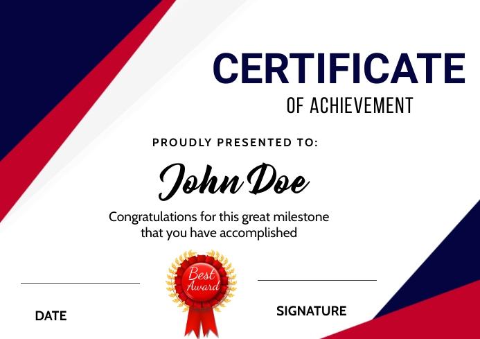 Certificate of Achievement A3 template