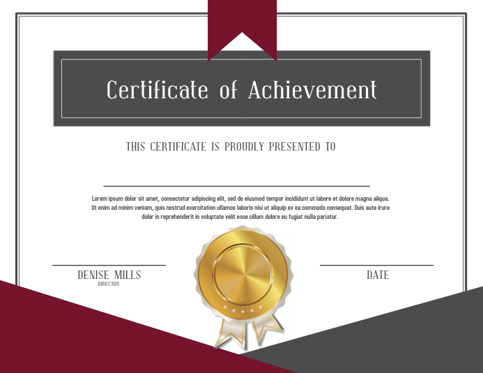 Certificate Of Achievement Template Postermywall