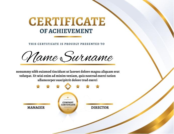 Certificate of achievement 传单(美国信函) template