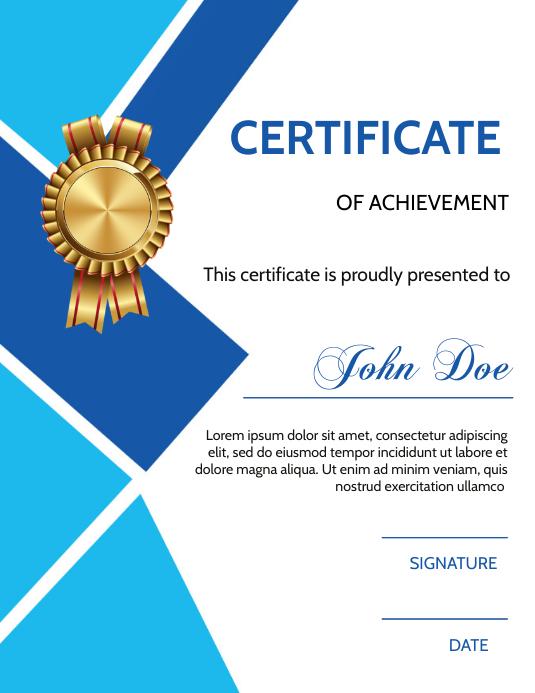 Certificate of Achievement Løbeseddel (US Letter) template