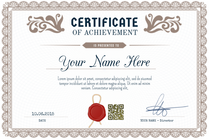 Certificate Of Achievement   PosterMyWall   Landscape Poster. Customize  Template  Certificates Of Achievement Free Templates