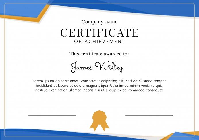 Certificate of achievement template A4
