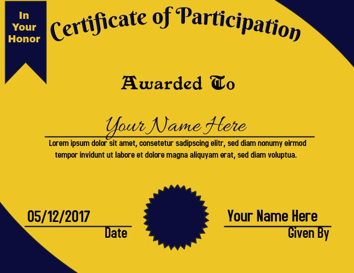Certificate of Appreciation B&G