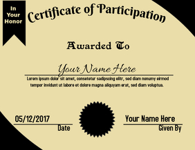 Certificate of Appreciation Black