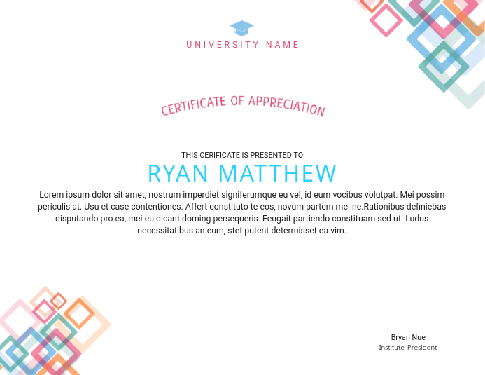 Certificate Of Appreciation Certificate Template Postermywall
