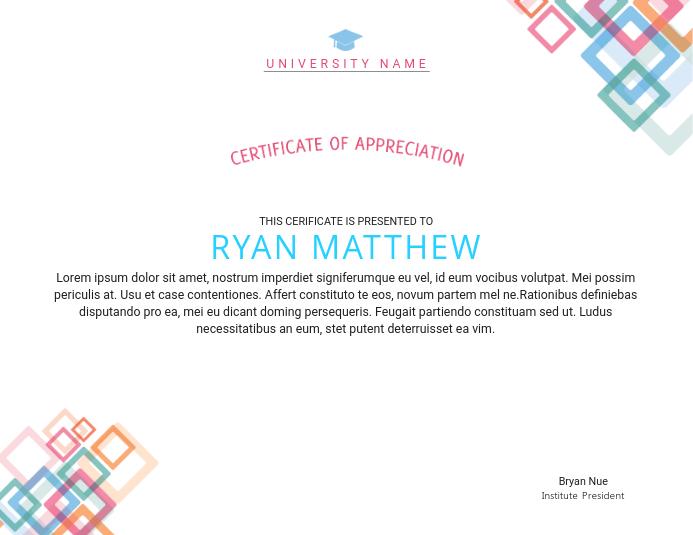 Certificate of Appreciation Certificate