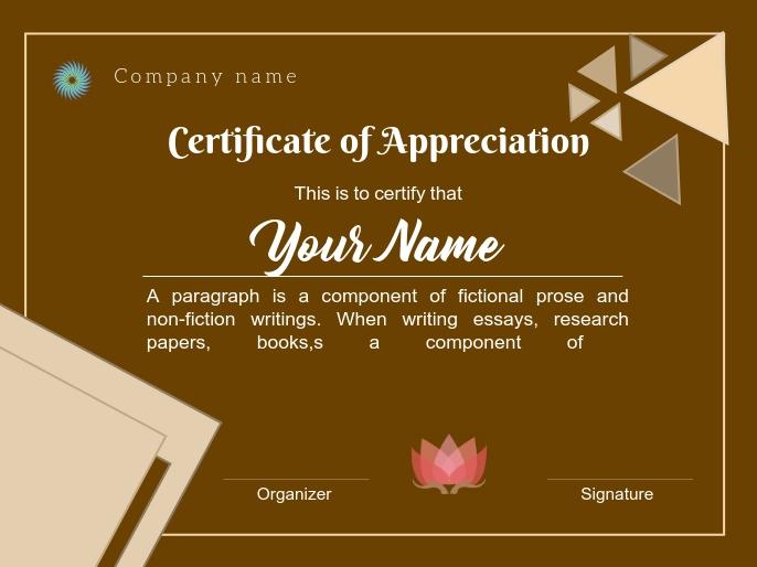 certificate of appreciation 演示 template