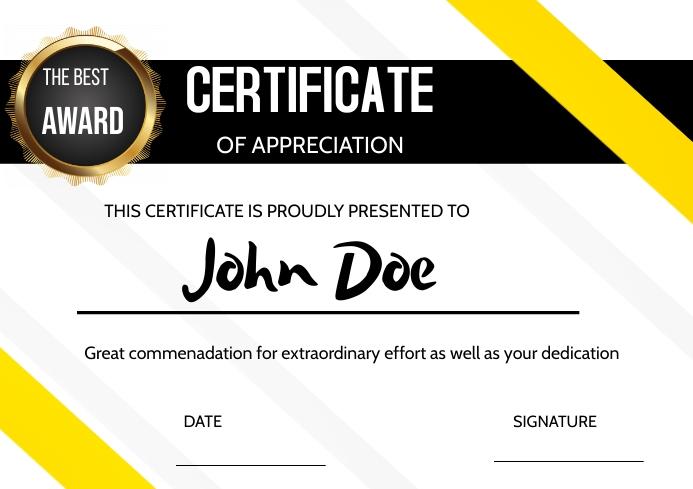 Certificate of Appreciation A3 template