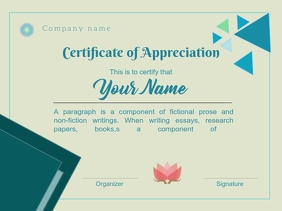 certificate of appreciation Presentation template