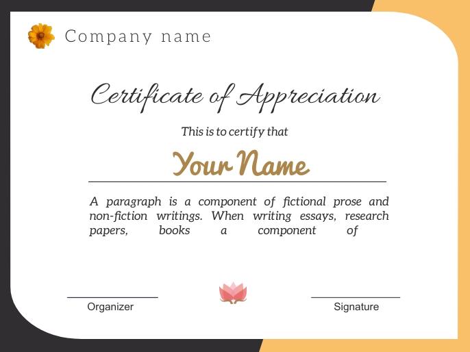 Certificate of appreciation j1811 演示 template