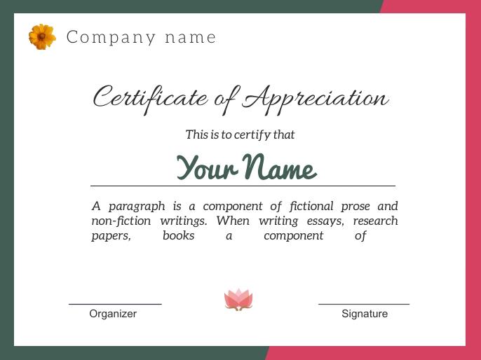 Certificate of appreciation j184 演示 template