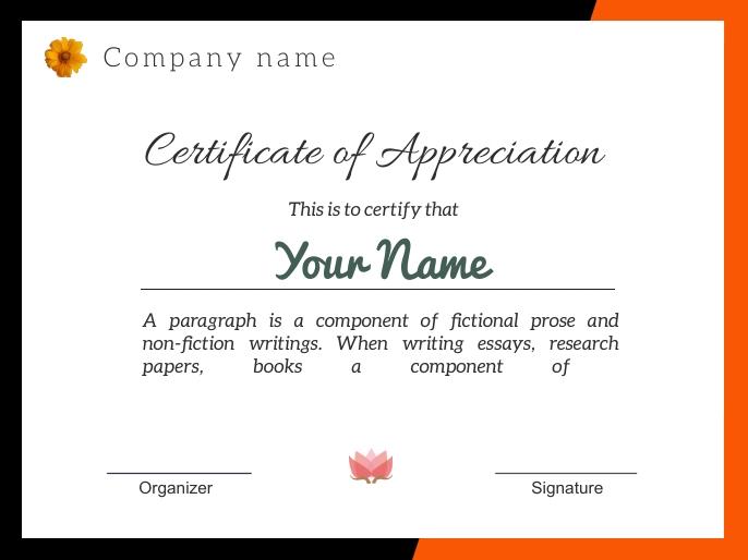 Certificate of appreciation j185 演示 template