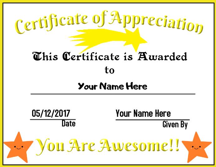 Certificate of Appreciation