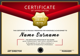 Certificate of Appreciation Print Template A4