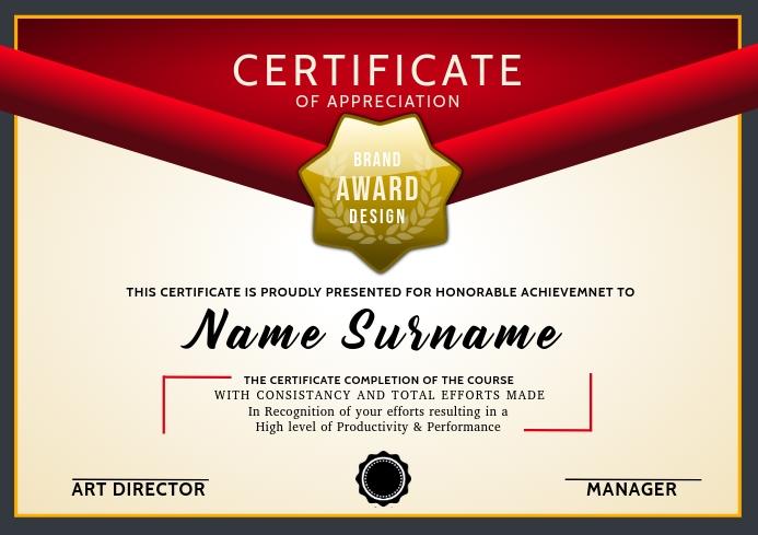 Certificate of Appreciation Print Template A4