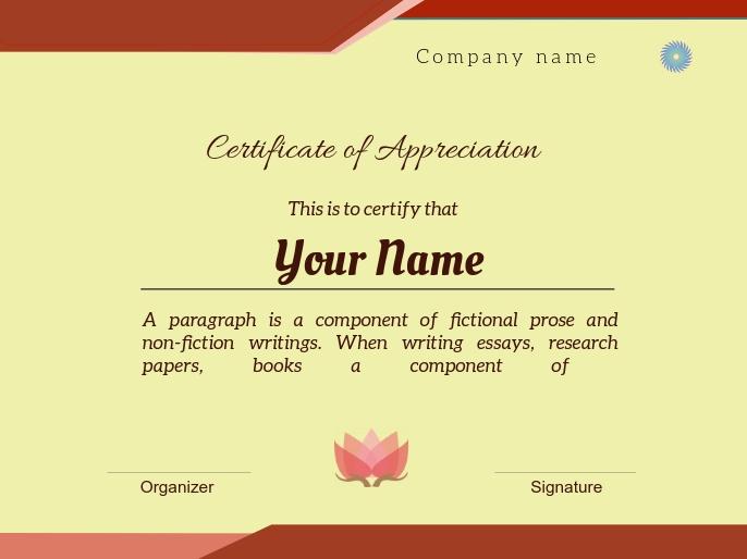 certificate of appreciation1 演示 template