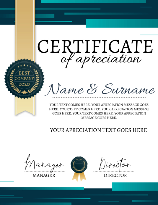 CERTIFICATE OF APRECIATION Template Рекламная листовка (US Letter)