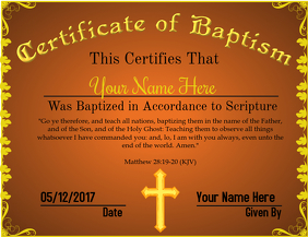 Certificate of Baptism 2