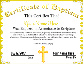Certificate of Baptism 3