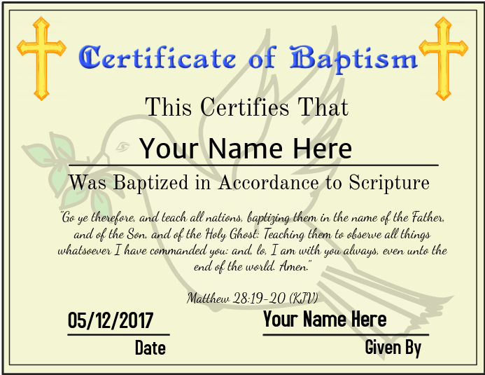 certificate of baptism template postermywall