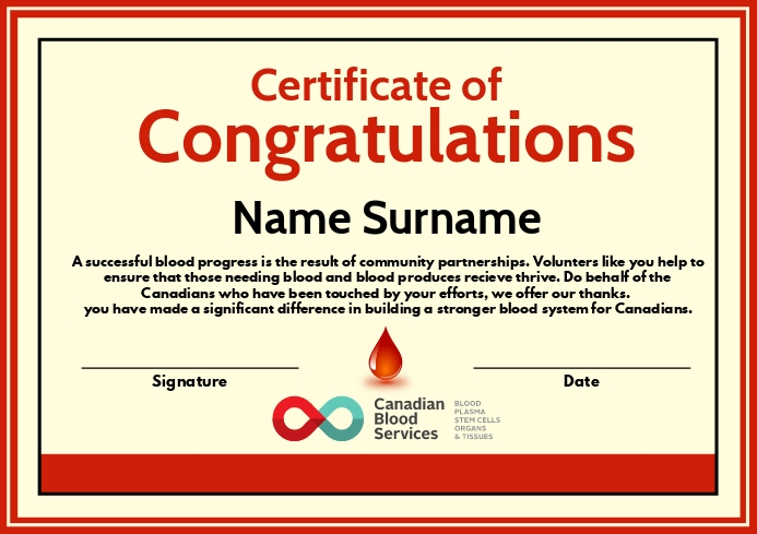 Certificate of Blood Donation Template A4