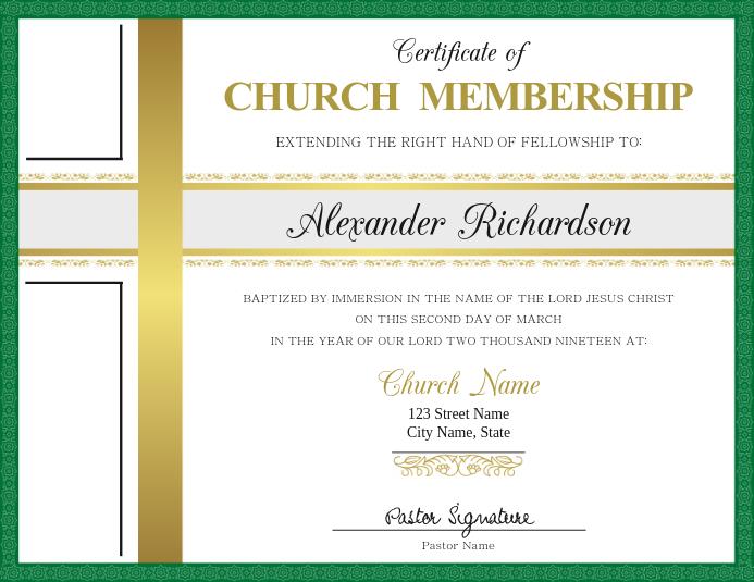 Certificate Of Church Membership Template