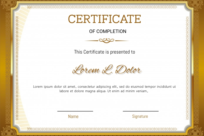 Certificate of completion Plakat template