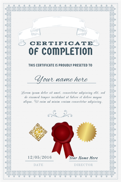 Ready Made Certificate Of Completion Postermywall Template