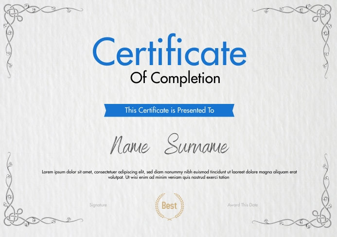 Certificate Of Completion Template A5