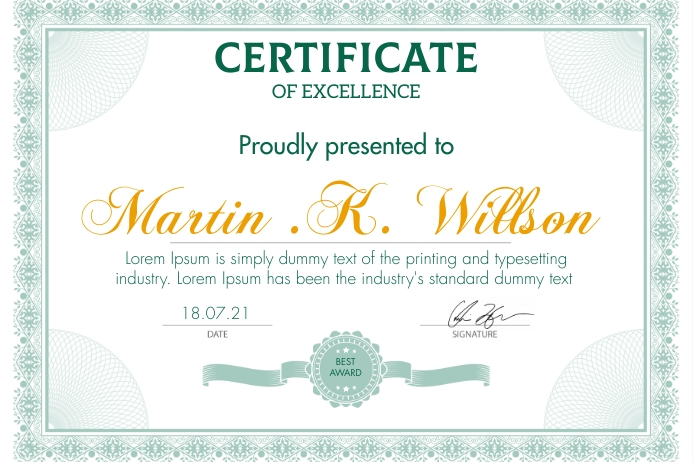 Certificate of excellence design template 海报