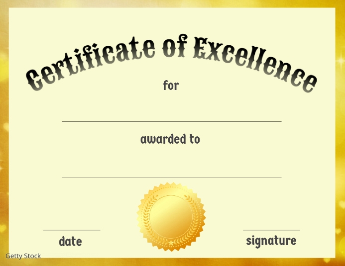 Certificate of Excellence Løbeseddel (US Letter) template