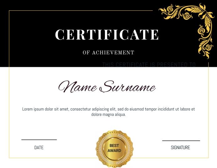 certificate of excellence Løbeseddel (US Letter) template