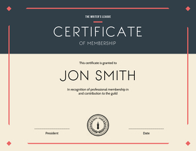 Certificate of Membership Landscape Flyer (US Letter) template