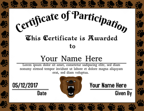 Certificate of Participation (Bears)