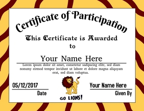 Certificate of Participation (Lions)