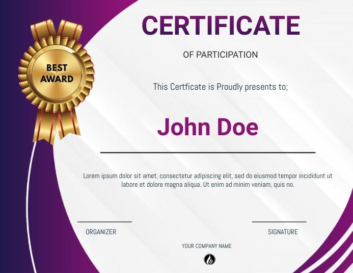 Certificate of participation Рекламная листовка (US Letter) template