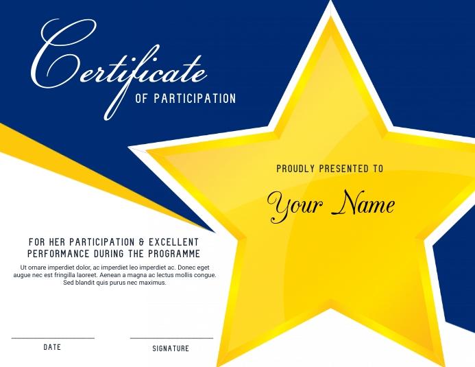 Certificate of Participation 传单(美国信函) template