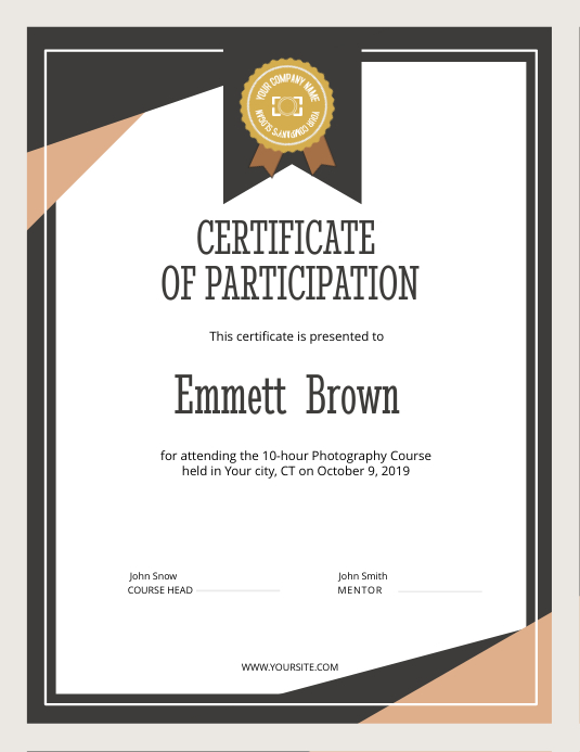 Certificate of Participation Portrait