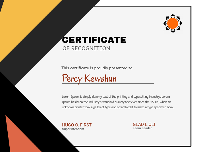 Certificate Of Recognition Design Template