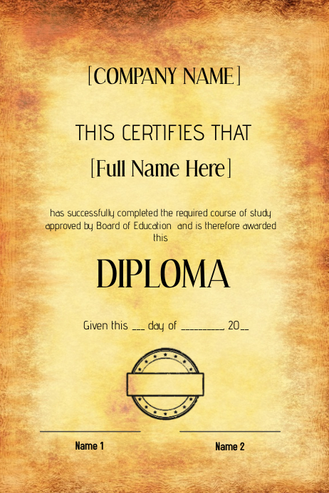 Certificate Old Diploma Graduation Flyer Template  Postermywall
