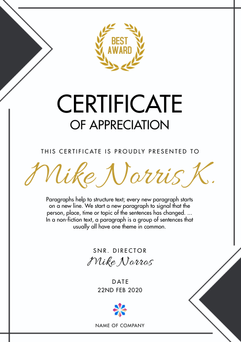 Certificate Template A4